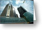Detroit Rock City Greeting Cards - Ren Cen and Streetlight Greeting Card by Steven Dunn