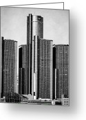 Renaissance Center Greeting Cards - Renaissance Center - Black and White Greeting Card by Alanna Pfeffer