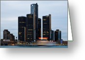 Renaissance Center Greeting Cards - Renaissance Center At Dusk Greeting Card by James Marvin Phelps