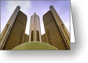 Signature Photo Greeting Cards - Renaissance Center Greeting Card by Michael Peychich
