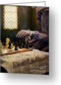 Chess Game Greeting Cards - Renaissance Lady Playing Chess Greeting Card by Jill Battaglia