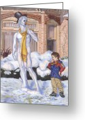 Scarf Greeting Cards - Renaissance Snowman Greeting Card by Jeff Brimley