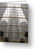 Renaissance Center Greeting Cards - RenCen from Within Greeting Card by Ann Horn