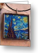 Night Jewelry Greeting Cards - Rendition of Starry Night 2 Greeting Card by Dana Marie