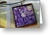 Night Jewelry Greeting Cards - Rendition of Starry Night in Amethyst Greeting Card by Dana Marie
