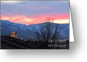 Snowy Night Greeting Cards - Reno at Night Greeting Card by Phyllis Kaltenbach