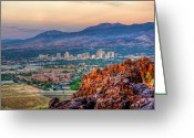 Nv Greeting Cards - Reno Nevada Cityscape at Sunrise Greeting Card by Scott McGuire