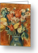 20th Century Photo Greeting Cards - Renoir: Bouquet Of Tulips Greeting Card by Granger