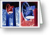 Loved Ones. Greeting Cards - Replica of Liberty Bell - Americana RWB Diptych - Inverted Greeting Card by Steve Ohlsen