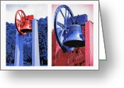 Loved Ones. Greeting Cards - Replica of Liberty Bell - Americana RWB Diptych Greeting Card by Steve Ohlsen