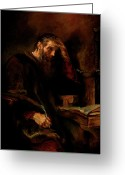 Order Greeting Cards - Replica of Rembrandts Apostle Paul Greeting Card by Tigran Ghulyan