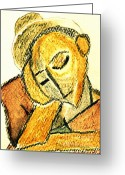 Orange Pastels Greeting Cards - Repose by PJ Greeting Card by Patricia Januszkiewicz