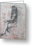 Masterpiece Drawings Greeting Cards - Repose Greeting Card by Julianna Ziegler