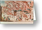 The New York New York Greeting Cards - Representation of the Terrible Fire of New York Greeting Card by French School