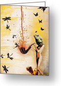 Spraypaint Greeting Cards - Reptilian Feminality Distorts the Primate Regime Greeting Card by Iosua Tai Taeoalii