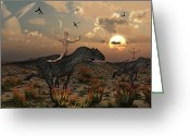 Theropod Greeting Cards - Reptoids Race Allosaurus Dinosaurs Greeting Card by Mark Stevenson