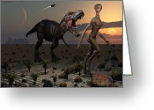 Theropod Greeting Cards - Reptoids Tame Dinosaurs Using Telepathy Greeting Card by Mark Stevenson