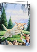 Children Book Illustrator Greeting Cards - Rescue Dog Greeting Card by Hanne Lore Koehler
