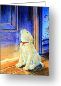 Children Book Illustrator Greeting Cards - Rescue Pup Greeting Card by Hanne Lore Koehler
