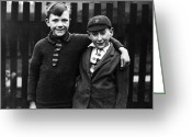 Black Tie Greeting Cards - Rescued Boys Greeting Card by H F Davis