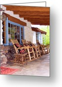Rocking Chairs Greeting Cards - RESERVED SEATING Palm Springs Greeting Card by William Dey