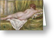 Nudes Greeting Cards - Rest after the Bath Greeting Card by Pierre Auguste Renoir