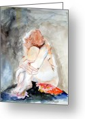 Woman Figure Greeting Cards - Rest Greeting Card by Mindy Newman