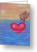 Orange And Yellow Heart Greeting Cards - Rest Your Wings Greeting Card by Samantha Lockwood