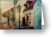 Montreal Street Life Greeting Cards - Restaurant Aux Anciens Canadiens Quebec City Greeting Card by Carole Spandau