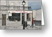 Center City Painting Greeting Cards - Restaurant Chez Paul Pointe St. Charles Greeting Card by Reb Frost