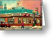 City Scapes Greeting Cards Greeting Cards - Restaurant Greenspot Deli Hotdogs Greeting Card by Carole Spandau