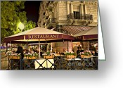 Waiter Greeting Cards - Restaurant In Budapest Greeting Card by Madeline Ellis