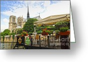 Sight Greeting Cards - Restaurant on Seine Greeting Card by Elena Elisseeva