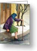 Elderly Painting Greeting Cards - Resting Greeting Card by Sam Sidders