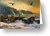 Seagulls Greeting Cards - Restless is the Sea Greeting Card by Dieter Carlton