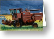 Old Farm Equipment Greeting Cards - Retired Combine Awaiting A Storm Greeting Card by Doug Strickland