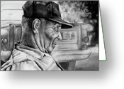 Exhibition Drawings Greeting Cards - Retired Greeting Card by Curtis James