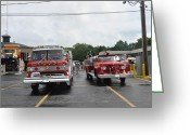 Truck Shows Greeting Cards - Retired Fire Trucks Greeting Card by Daniel Ness
