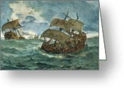 Galleon Greeting Cards - Retreat Of Spanish Armada, 1588 Greeting Card by Granger
