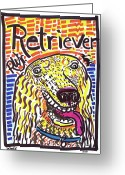 Street Art Drawings Greeting Cards - Retriever Greeting Card by Robert Wolverton Jr