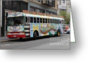 Cable Cars Photo Greeting Cards - Retro 60s San Francisco Haight Ashbury Magic Bus - 5D17923 Greeting Card by Wingsdomain Art and Photography