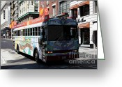 Cable Cars Photo Greeting Cards - Retro 60s San Francisco Haight Ashbury Magic Bus - 5D18009 Greeting Card by Wingsdomain Art and Photography