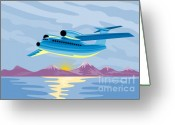 Taking Off Greeting Cards - Retro Airliner flying  Greeting Card by Aloysius Patrimonio