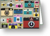 Fabric Greeting Cards - Retro Camera Pattern Greeting Card by Setsiri Silapasuwanchai