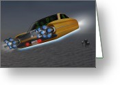 Hot Rod Greeting Cards - Retro Flying Object 1 Greeting Card by Mike McGlothlen