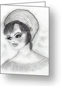 1960s Fashion Greeting Cards - Retro Girl in Hat Greeting Card by Sonya Chalmers