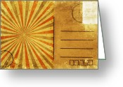 Backside Greeting Cards - Retro Grunge Ray Postcard Greeting Card by Setsiri Silapasuwanchai