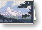 Cascades Greeting Cards - Retro Mount Hood Greeting Card by Mitch Frey