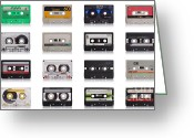 Stereo Greeting Cards - Retro Music Cassette Greeting Card by Gualtiero Boffi