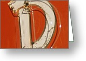 Reproductions Greeting Cards - Retro Neon Letter D Greeting Card by Anthony Ross